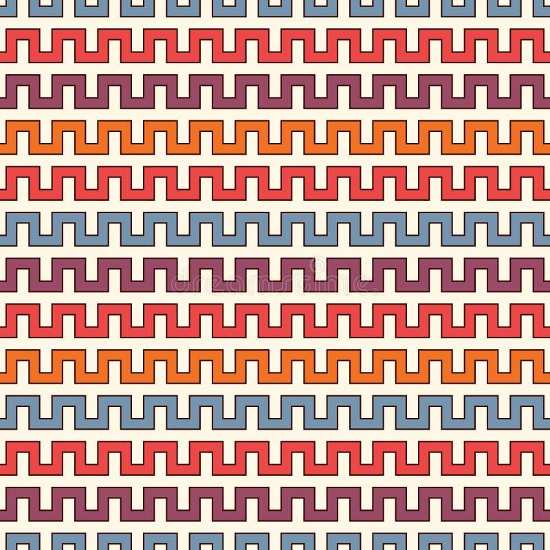 Jaskrawy bezszwowy wzór z battlement wyginać się liniami Częstotliwe geometryczne postacie tapetowe Nowożytna nawierzchniowa teks ilustracja wektor