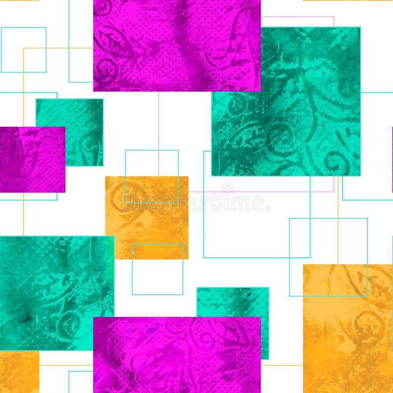 Jaskrawy bezszwowy wzór z geometrycznym ornamentem Akwareli grunge tekstura w postaci kwadratów Tło dla tkanin, royalty ilustracja