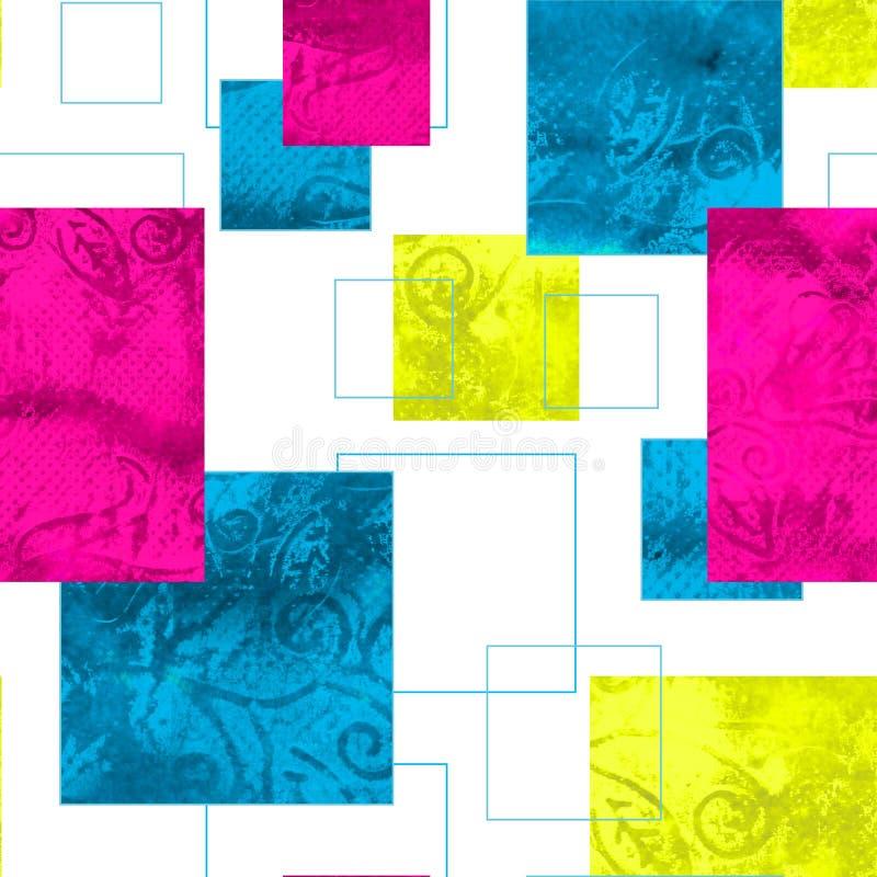 Jaskrawy bezszwowy wzór z geometrycznym ornamentem royalty ilustracja