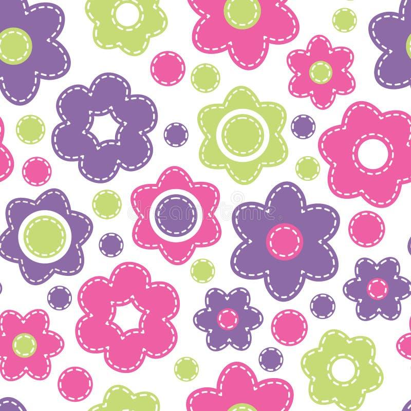 Jaskrawy bezszwowy wzór z kwiatami Dziecięcy stylowy wektorowy illu royalty ilustracja
