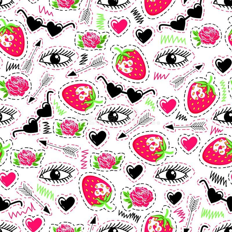 Jaskrawy bezszwowy wzór z oczami, truskawką, strzała, różami, okularami przeciwsłonecznymi i sercami, royalty ilustracja