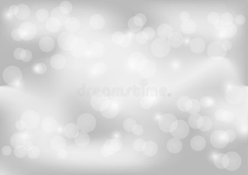 Jaskrawy biały i szary Abstrakcjonistyczny tło Z Białymi płatkami śniegu ilustracji