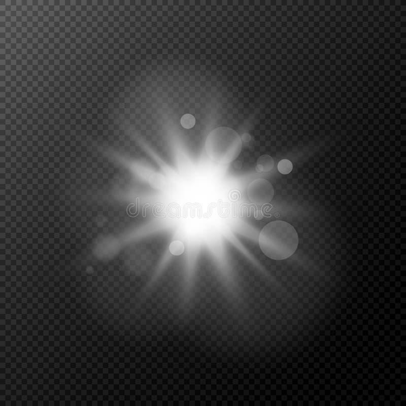 Jaskrawy bielu błysk odizolowywający na przejrzystym tle Błysk, główna atrakcja dla twój projekta Materiał filmowy dla fotografii ilustracja wektor