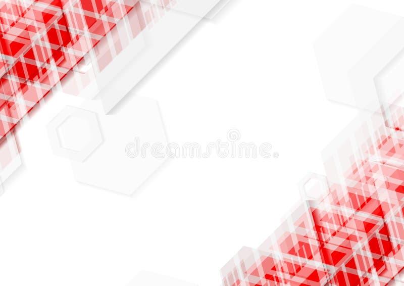Jaskrawy czerwieni i bielu technologii abstrakcjonistyczny tło royalty ilustracja