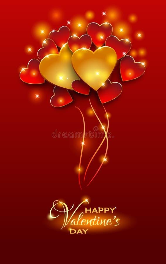 Jaskrawy czerwony walentynki ` s dnia tło Rewolucjonistka i złoto balonów shap ilustracja wektor