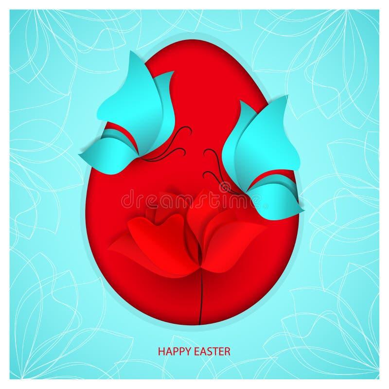 Jaskrawy czerwony Wielkanocny jajko na nadziemskim błękitnym koloru tle z motylami, kwiatu tulipanem, maczkiem lub różami dwa błę ilustracji