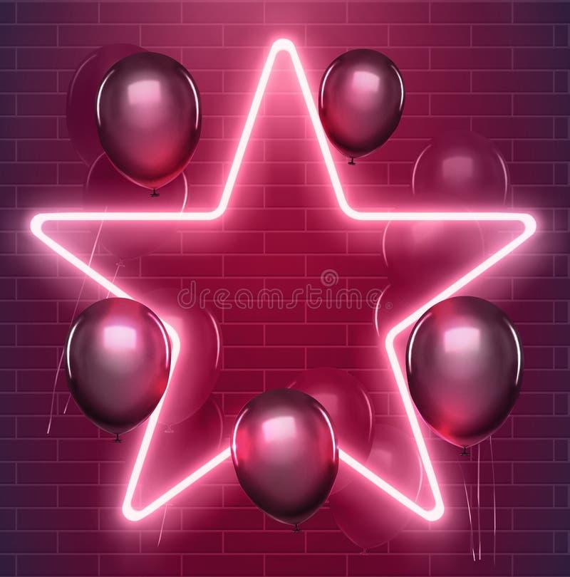 Jaskrawy dyskoteka projekt Wektorowa neonowa gwiazda z czarnymi baloons Jarzyć się iluminującą ilustrację 10 eps ilustracja wektor