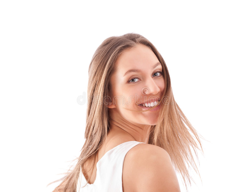 jaskrawy dziewczyny szczęśliwy nadmierny portreta biel obrazy royalty free
