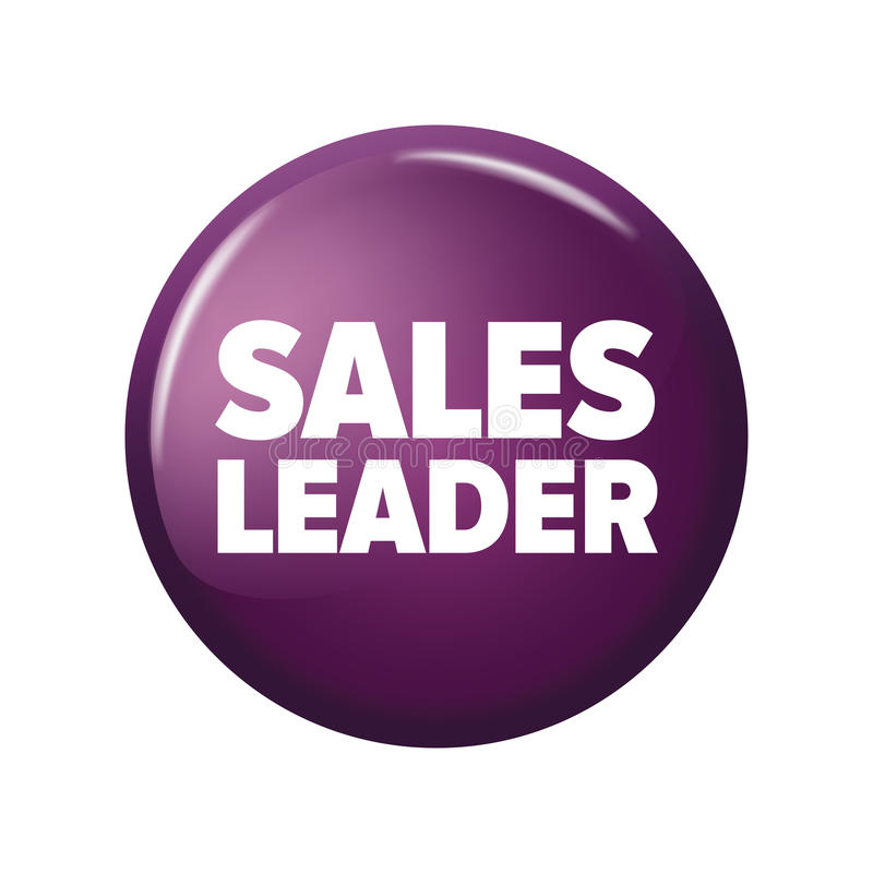 Jaskrawy fiołkowy purpurowy round guzik z słowa ` sprzedaży lidera ` ilustracja wektor