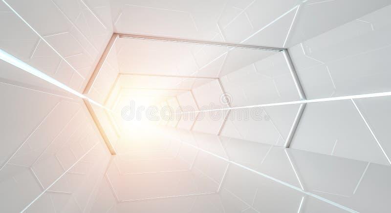Jaskrawy futurystyczny statku kosmicznego korytarza 3D rendering royalty ilustracja