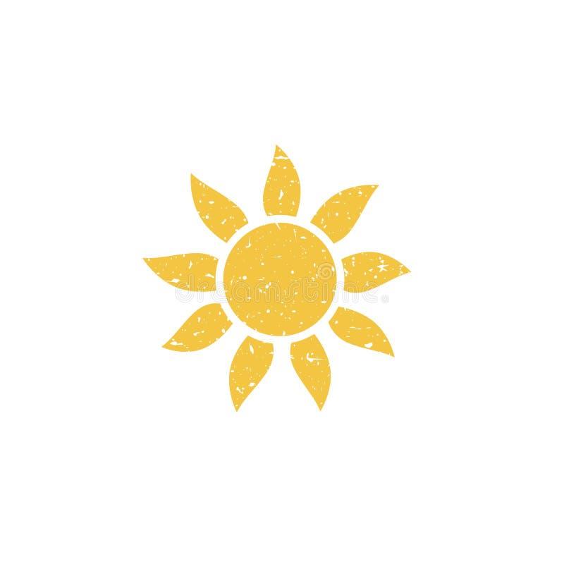 Jaskrawy gorący słońce lub płonący słonecznik Retro grunge ikona z cząsteczkami gruzy Odizolowywający na bielu ilustracji