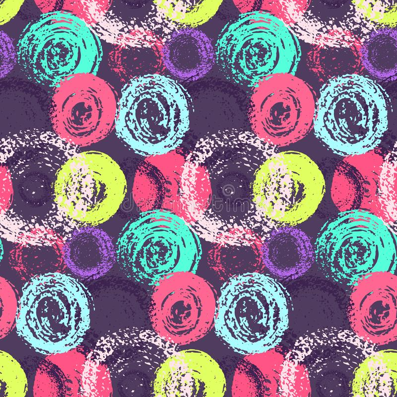 Jaskrawy grunge drapający kolorów okregów wzór royalty ilustracja