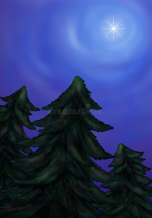 Jaskrawy gwiazdowy jaśnienie nad jedlinowy las 2016 royalty ilustracja