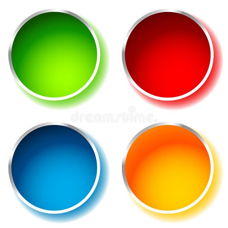 Jaskrawy i glansowany okręgu kształt, okręgu tło w 4 kolorze ilustracji