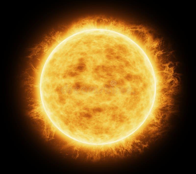 Jaskrawy i gorący pomarańczowy słońce ilustracji