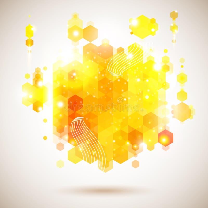 Jaskrawy i optymistycznie plakat. Luksusowy żółty abstrakcjonistyczny skład. ilustracji