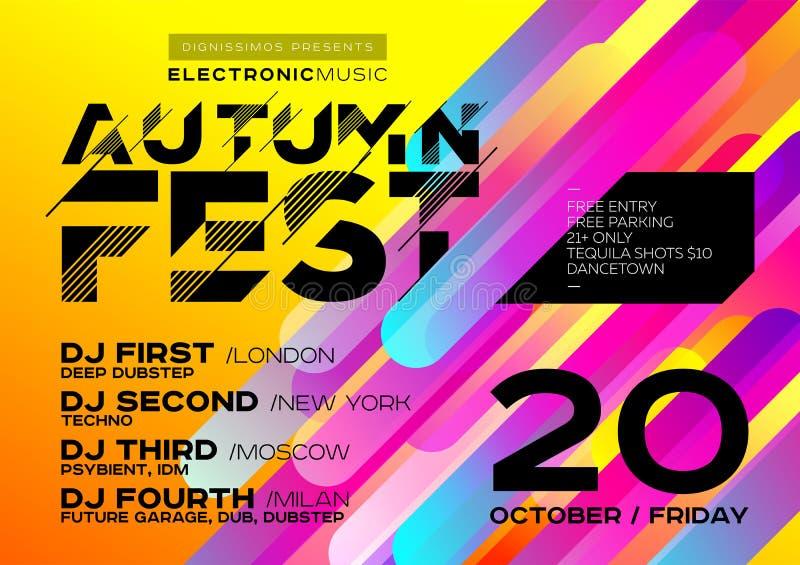 Jaskrawy jesieni Elektronicznej muzyki plakat dla festiwalu lub DJ Bawimy się ilustracji