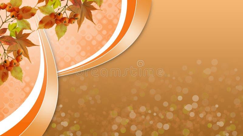 Jaskrawy jesienny tło z yellowed liśćmi, jesień przychodził ilustracja wektor