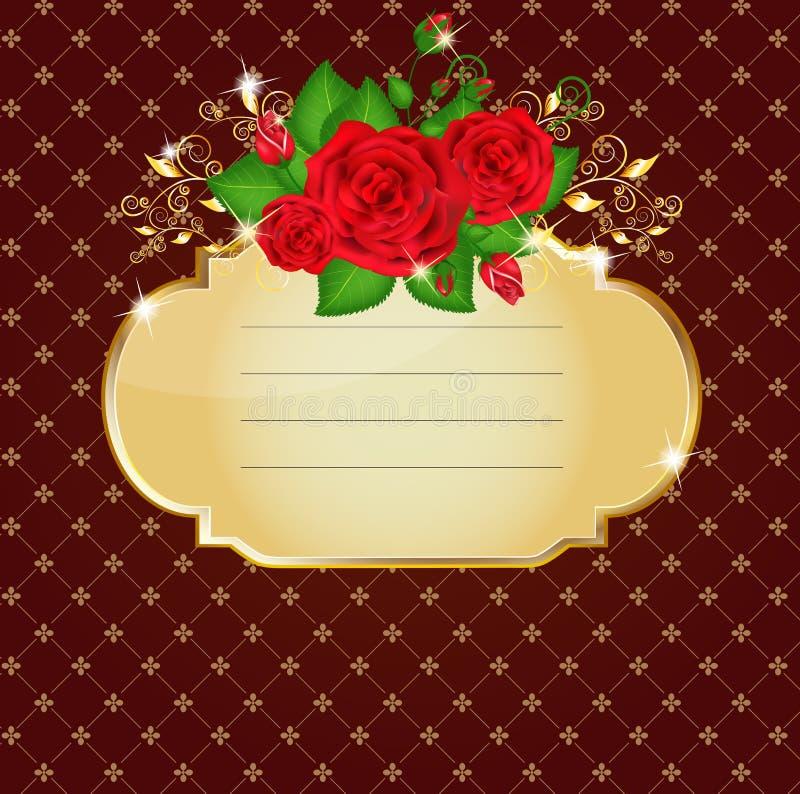 jaskrawy karciane czerwone róże ilustracja wektor