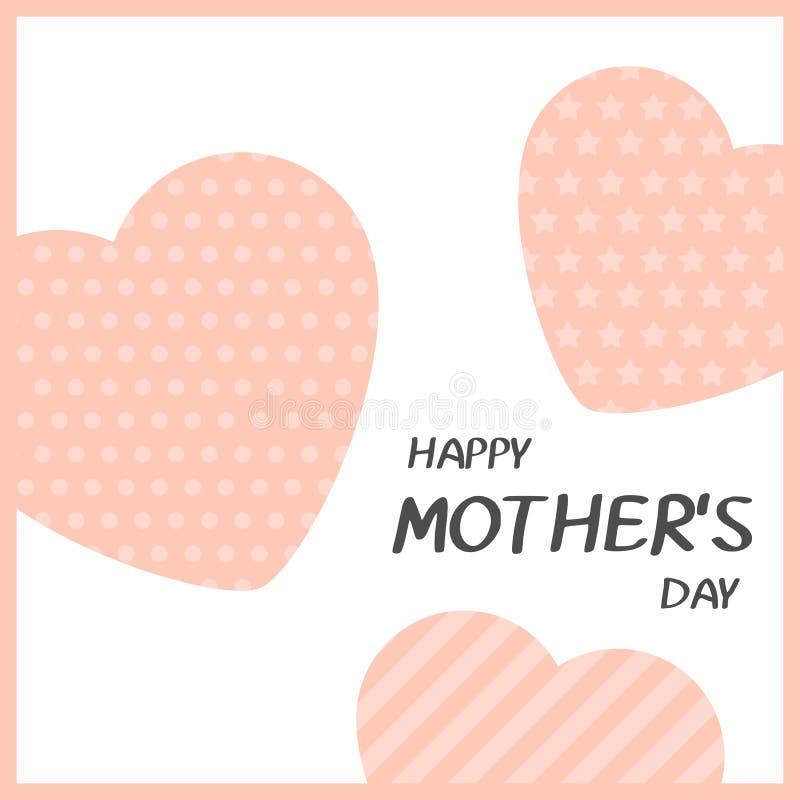 Jaskrawy kartka z pozdrowieniami w minimalisty stylu dla matka dnia Nowożytna odznaka lub etykietka z wiadomości matek Szczęśliwy ilustracji