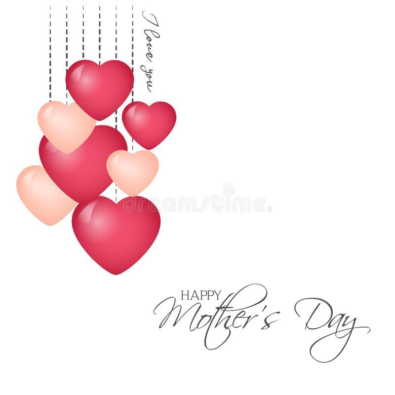 Jaskrawy kartka z pozdrowieniami w minimalisty stylu dla matka dnia Nowożytna odznaka lub etykietka z wiadomości matek Szczęśliwy royalty ilustracja