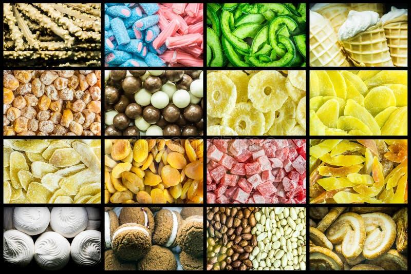 Jaskrawy kolaż barwiący chewy cukierki, cukierki suszył owoc i świeżych słodkich ciasta zdjęcia stock