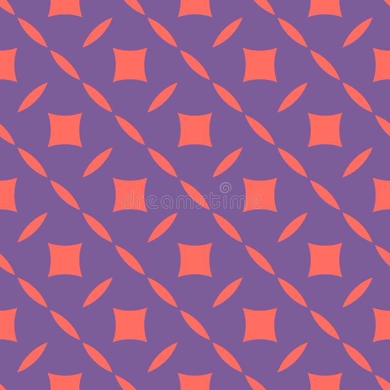 Jaskrawy kolorowy abstrakcjonistyczny geometryczny bezszwowy wz?r Purpury i koralowy kolor royalty ilustracja