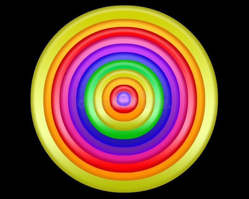 Jaskrawy kolorowy abstrakcjonistyczny projekt okręgi na czarnym tle ilustracja wektor