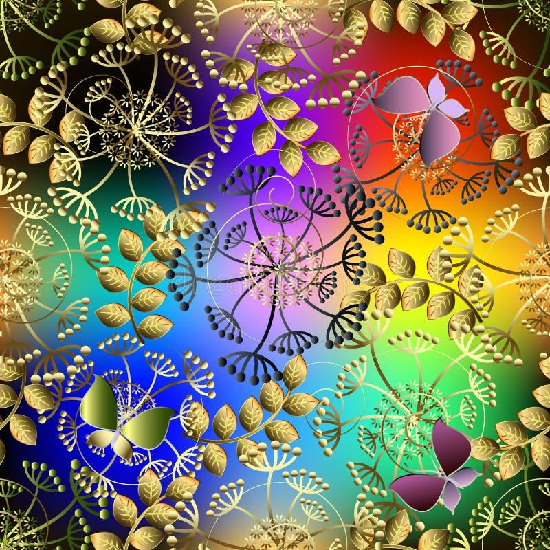 Jaskrawy kolorowy kwiecisty wektorowy bezszwowy wzór Ornamentacyjny wielo- ilustracja wektor