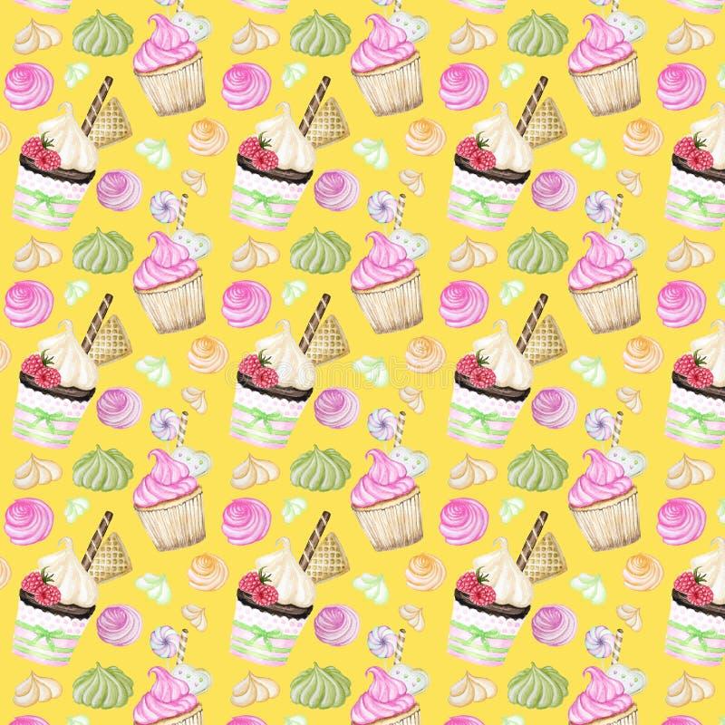 Jaskrawy kolorowy Słodki wyśmienicie akwarela wzór z babeczkami Odosobneni elementy na jaskrawym żółtym tle royalty ilustracja