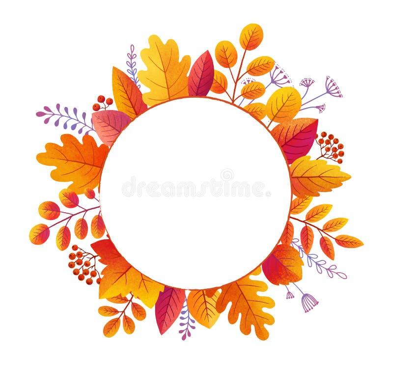 Jaskrawy kolorowy textured jesień las opuszcza na białym tle i jagody wektorowa round rama odizolowywająca ilustracji