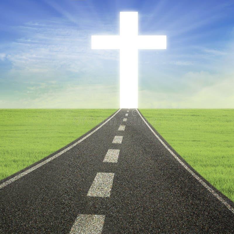 Jaskrawy krzyż na drodze ilustracji