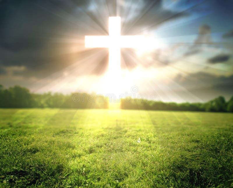 Jaskrawy krzyż w polu zdjęcia stock
