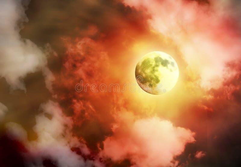 jaskrawy księżyc w pełni nieba kolor żółty royalty ilustracja