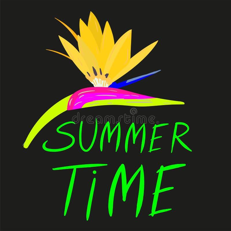 Jaskrawy lato czasu wektorowy neonowy sztandar royalty ilustracja