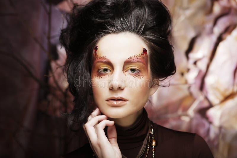 Jaskrawy makijaż twarz jest piękna kobieta obrazy royalty free