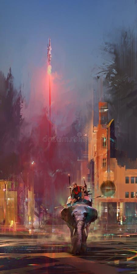 Jaskrawy malujący przyszłość krajobraz z słoniem i rakietą royalty ilustracja