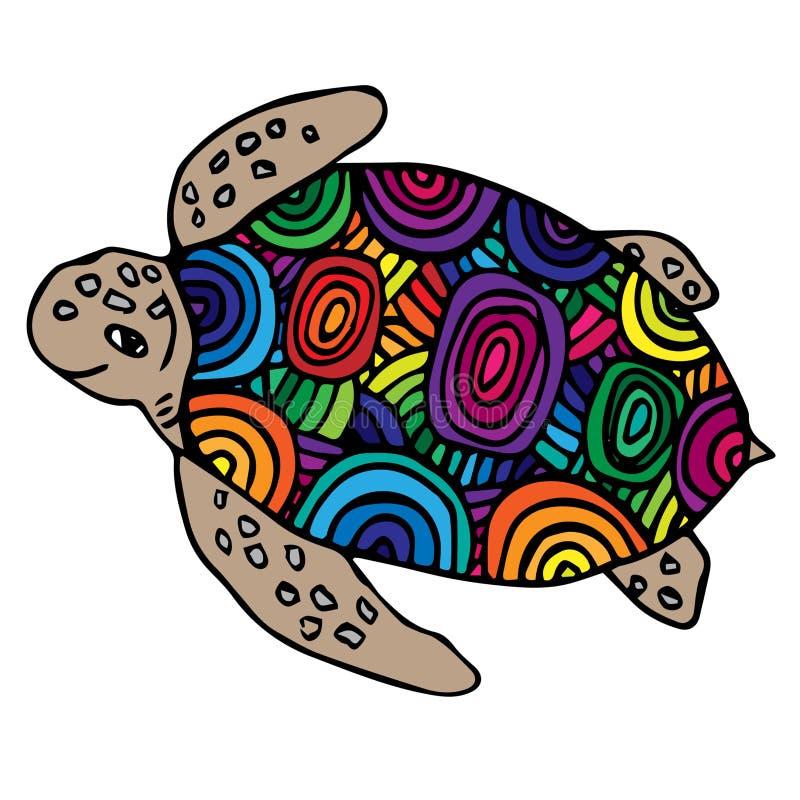 Jaskrawy multicolor denny żółw ilustracji