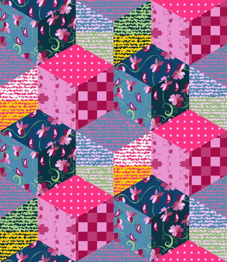 Jaskrawy multicolor patchworku wzór ilustraci bezszwowy linowy ilustracji