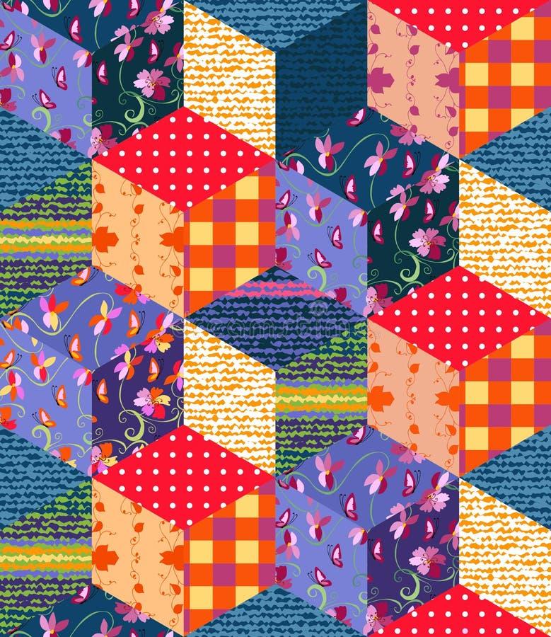 Jaskrawy multicolor patchworku wzór ilustracyjny bezszwowy wektor royalty ilustracja