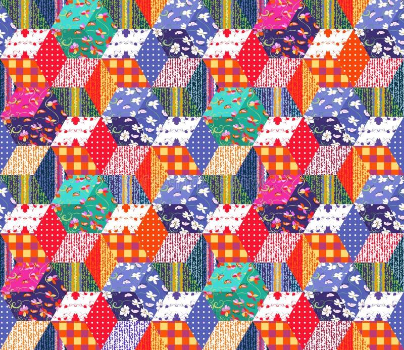 Jaskrawy multicolor patchworku wzór ilustracyjny bezszwowy wektor ilustracji