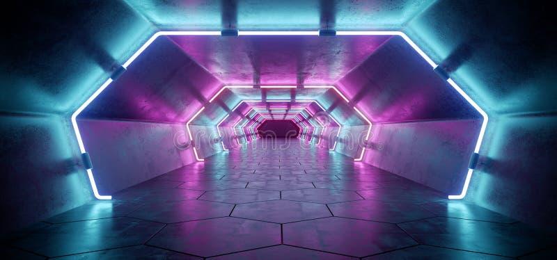 Jaskrawy Nowożytny Futurystyczny Obcy Odbijający Betonowy korytarz Tunn ilustracja wektor