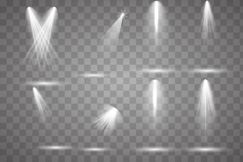 Jaskrawy oświetlenie z światłami reflektorów ilustracji
