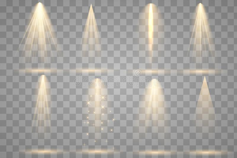 Jaskrawy oświetlenie z światłami reflektorów ilustracja wektor