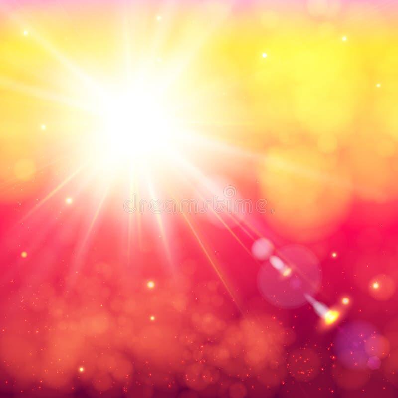 Jaskrawy olśniewający słońce z obiektywu racą ilustracji