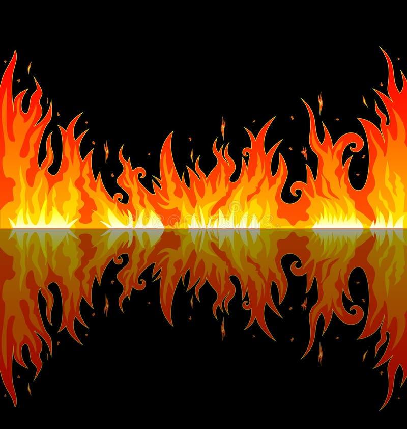 Jaskrawy płomień w nocy ilustracji