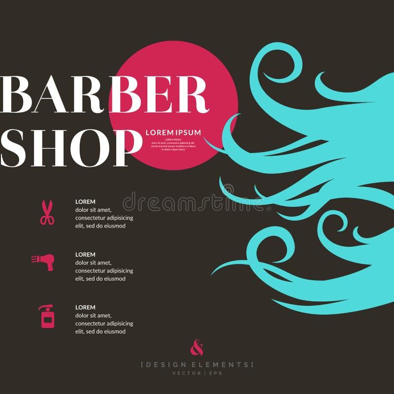 Jaskrawy plakat dla fryzjera męskiego sklepu royalty ilustracja