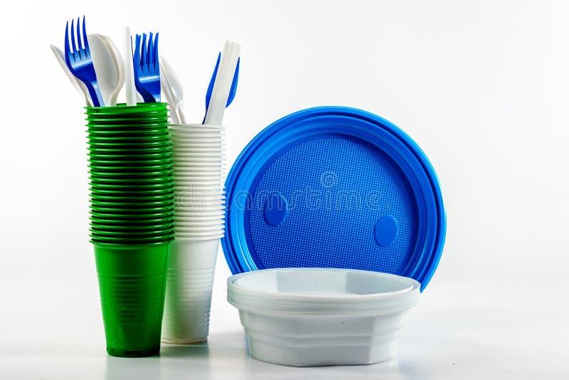 Jaskrawy plastikowy rozporządzalny tableware zdjęcia stock