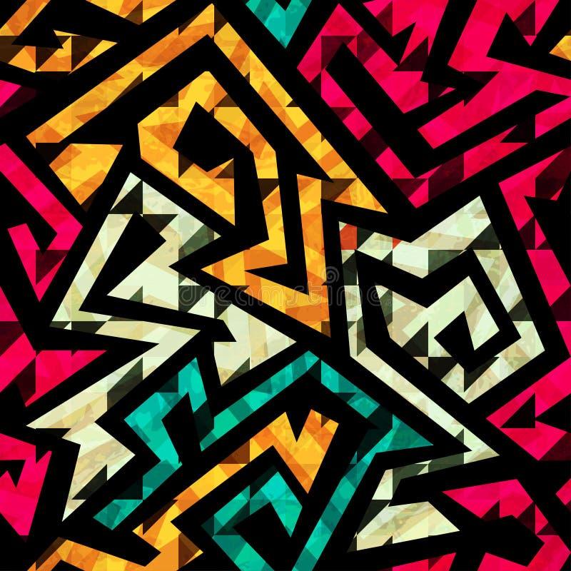 Jaskrawy Plemienny Bezszwowy wzór ilustracja wektor