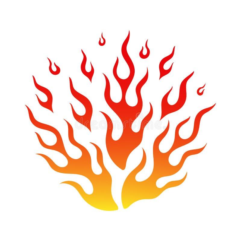 Jaskrawy pożarniczy płomień w kreskówki ogniska gorącym tatuażu royalty ilustracja